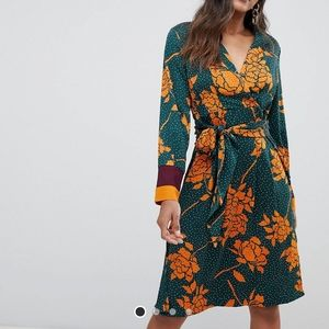 [Y.A.S.] Floral Spotted Midi Wrap Dress Vibrant